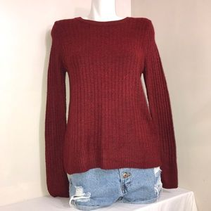 Old Navy Maroon Cable Knit Fuzzy Crewneck Sweater